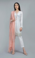 Shirt fabric: Lawn Trouser fabric: Lawn cotton Dupatta fabric: Silk Lawn paneled embroidered shirt with embroidered border and embroidered spray on sleeves paired with straight self printed trouser and printed silk dupatta