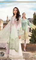 Printed lawn front Printed lawn back Printed lawn sleeves Printed tissue silk dupatta Printed cambric trouser Embroidered ghera patch Embroidered ghera lace Embroidered sleeve patch Embroidered sleeve lace Embroidered neckline lace
