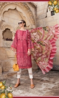 Embroidered Pima lawn front 3 pieces Printed lawn back Dyed lawn sleeves Printed tissue silk dupatta Printed cambric trouser Embroidered organza sleeve lace Embroidered organza sleeve patch 2 pieces