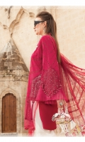 Schiffli embroidered lawn front Printed lawn back Schiffli embroidered lawn sleeves Embossed printed net dupatta Printed border dupatta Printed cambric trouser Embroidered organza neckline Lace Embroidered organza ghera motif I Embroidered organza ghera motifs 2 pcs Embroidered organza sleeve patches Embroidered organza ghera Lace & Neckline Plain organza ghera patch