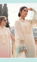 Embroidered lawn brochia front Lawn brochia back Embroidered Lawn brochia sleeves Organza jacquard dupatta Printed cambric trouser Embroidered organza ghera lace Embroidered organza neckline Lace Embroidered organza sleeve lace