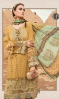 Embroidered schiffli lawn front and sleeves Printed lawn back Printed tissue silk dupatta Printed cambric trouser Embroidered organza neckline Embroidered organza ghera patch Embroidered organza sleeve patch Embroidered organza ghera lace Embroidered organza sleeve lace I Embroidered organza sleeve lace II
