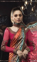 Digital printed pure charmeuse silk sari 7m Embroidered pure raw silk blouse 1.25m Embroidered pure chiffon sleeves 0.67m Grip petticoat 3m Embroidered raw silk patti 10.67m Embroidered sleeve patti 1m