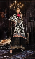 Digital printed pure charmeuse front and back 2.5m Digital printed sleeves 0.65m Digital printed silk dupatta 2.5m Dyed cotton satin trouser 2.5m Embroidered neckline patti 1m Embroidered and embellished neckline patch 1 piece Embroidered sleeve patti 1m