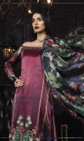 Digital printed pure charmeuse silk front and back 2.5m Digital printed sleeves 0.65m Digital printed silk dupatta 2.5m Dyed cotton satin trouser 2.5m Embroidered and embellished neckline