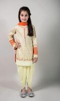 3 Piece Shalwar Shirt and Dupatta Yellow Doria Screen Printed Shirt with Embroiderey on Hem and