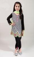 3 Piece Dupatta, Shalwar and Shirt Black Lawn Screen Printed Shirt with Embroiderey on Hem