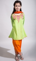 3 piece frock, Shalwar and Dupatta Lime green Doria Screen Printed Frock with Chikan Sleeves