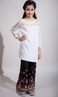 3 piece Shalwar Shirt and Dupatta Yellow screen printed shirt with embroidery on sleeves and hem