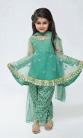 3 Piece Frock, Shalwar And Dupatta Net Green Embroidered Frock With Screen Printed Shalwar Net Green Dupatta Embellished With Screen Printed Pati And Pearls