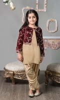 3 piece Shirt Shalwar and Jacket Maroon velvet embroidered short jacket Beige grip Shirt Beige embroidered grip shalwar .