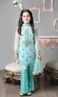 3 Piece Shirt, Trouser and Dupatta Net Embroidered Shirt with Grip Trouser  Net Dupatta Embellished with Lace and Buttons