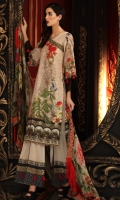 Digital Print Shirt with embroidered Nick line  Dyed Trouser  Digital Print Chiffon Dupatta with Embroidered Border