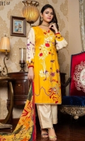 03 Pcs Unstitched Embroidered Linen with Printed Dupatta