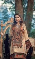 Hand block printed karandi fabric for front sleeves and back Long neckline (satin) Embroidered sequinned sleeves border (satin) Embroidered border for front (satin) Velvet Embroidered shawl with hand work of orignal shesha 2.5MTR Embroidered trouser dyed 2.5MTR