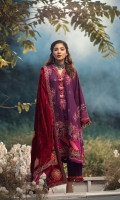 Bored Embroidered front (khaddar) Bored Embroidered sleeves Shiffli Embroidered back Embroidered border for front and sleeves Embroidered neckline patti Velvet Embroidered shawl with the appliqué of silk Four sided Embroidered border on velvet for shawl Dyed trouser khaddar 2.5MTR