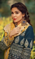 Embroidered sequinned front (khaddar) Embroidered sleeves (khaddar) Screen printed back (khaddar) Embroidered sleeves border (satin silk) Embroidered front daman border (satin) Embroidered Shiffli woolen shawl Dyed trouser 2.5MTR