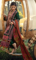 Embroidered and appliqued front (karandi) Jacquard back Embroidered sleeves (karandi) Embroidered side pannels Embroidered border for front (satin) Embroidered border for back Embroidered border for sleeves (satin) Dyed trouser Medium silk duppata