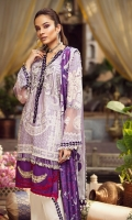 """01 M EMBROIDERED LAWN FRONT 01 EMBROIDERED RAW SILK BORDER 01 M EMBROIDERED NECKLINE PATTI 13"""" DYED FRONT LAWN PANELS 25 M PRINTED LAWN BACK 65 M EMBROIDERED LAWN SLEEVES 02 EMBROIDERED SLEEVES MOTIFS 5 M PRINTED MEDIUM SILK DUPATTA 2 M EMBROIDERED TROUSER BORDER 5 M 100% PIMA COTTON TROUSER"""