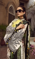 """01 M EMBROIDERED FRONT JACQUARD LAWN WITH APPLIQUE WORK 01 M EMBROIDERED FRONT BORDER 01 M EMBROIDERED NECKLINE PATT 25 M PRINTED LAWN BACK 65 M DYED JACQUARD LAWN SLEEVES 02 EMBROIDERED SLEEVES MOTIFS 26"""" EMBROIDERED SLEEVES BORDER 5 M PRINTED MEDIUM SILK DUPATTA 01 M EMBROIDERED TROUSER PATTI 5 M 100% PIMA COTTON TROUSER"""