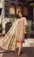 """01 M EMBROIDERED DOBBY LAWN FRONT 02 M EMBROIDERED FRONT BORDER 5 M EMBROIDERED FRONT AND BACK BORDER 25 M DYED LAWN BACK 01 EMBROIDERED BACK MOTIF 65 M EMBROIDERED DOBBY LAWN SLEEVES 01 M EMBROIDERED SLEEVES BORDER 5 M EMBROIDERED DUPATTA WITH GOTTA WORK ON CHANDARI 02 M EMBROIDERED DUPATTA BORDER 44"""" EMBROIDERED TROUSER BOTTOM 5 M 100% PIMA COTTON TROUSER"""