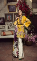 """01 M CROSS STITCHED EMBROIDERED LAWN FRONT 01 M EMBROIDERED NECKLINE LACE 01 M EMBROIDERED FRONT BORDER 25 M SCREEN PRINTED LAWN BACK 13 """"FRONT SIDE PANELS 65 M EMBROIDERED LAWN SLEEVES 01 M EMBROIDERED SLEEVES BORDER 5 M PRINTED TISSUE SILK DUPATTA WITH FOIL PRINT 02 M EMBROIDERED TROUSER LACE 12 M EMBROIDERED TROUSER BORDER 5 M 100% PIMA COTTON TROUSER"""