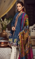 """01 M EMBROIDERED SCHIFFLI LAWN FRONT 01 EMBROIDERED FRONT BORDER 01 M EMBROIDERED NECKLINE PATTI 13"""" DYED FRONT SIDE PANELS LAWN 25 M PRINTED LAWN BACK 02 EMBROIDERED SLEEVES MOTIFS 01 M EMBROIDERED SLEEVES BORDER 5 M PRINTED MEDIUM SILK DUPATTA 5 M 100% PIMA COTTON TROUSER"""