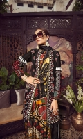 """01 M EMBROIDERED SHEESHA WORK LAWN FRONT 02 M EMBROIDERED FRONT BORDER 25 M DYED LAWN BACK 01 EMBROIDERED BACK MOTIF 65 M DYED LAWN SLEEVES 01 M EMBROIDERED SLEEVES BORDER 04 M EMBROIDERED HEM PATTI 5 M PRINTED MEDIUM SILK DUPATTA 44"""" EMBROIDERED TROUSER BOTTOM 5 M 100% PIMA COTTON TROUSER"""