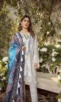 Embroidered Front on Lawn Embroidered Neckline Embroidered Sleeves Border on Pure Organza Dyed Sleeves Screen Printed Back of Shirt Pure Medium Silk Printed Dupatta - 2.5MTR Trouser Pima Cotton - 2.5MTR