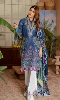 Embroidered Front on Lawn Fabric Embroidered Neckline Embroidered Sleeves on Lawn Fabric Embroidered Chiffli Laces for Sleeves Embroidered Daman for Front Digital Printing Back Pure Medium Silk Dupatta Printed - 2.5MTR Hand Printed Screen Patch for Trouser Pima Cotton Trouser - 2.5MTR