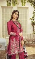 Chiffli Embroidery Front on Lawn for Front Embroidered Neckline on Pure Organza Embroidered Sleeves 2 Embroidered Motifs for Sleeves Embroidered Back Motif Embroidered Sleeves Patti on Organza Fabric Embroidered Trouser Patti on Organza Dyed Trouser Pima Cotton - 2.5MTR Dyed Sleeves Fabric Medium Silk Printed Dupatta 2.5MTR
