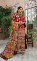 Embroidered Front (Lawn) Embroidered Front Border (Lawn) Embroidered Front & Back Border (Satin) Embroidered Sleeve (Lawn) Embroidered Neck Patti (Lawn) Embroidered Back (Lawn) Embroidered Dupatta (Woil) Trouser (Cotton) Trouser Patti (Organza)