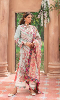 Embroidered Front (Lawn) Embroidered Front & Back Border (Satin) Printed Back (Lawn) Embroidered Sleeve (Lawn) Embroidered Sleeve Border (Lawn) Embroidered Dupatta Swiss voil Embroidered Dupatta Matha Patti (Satin) Embroidered Dupatta 4 Side (Satin) Printed Trouser (Cotton)