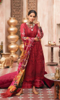 Embroidered laser cut Front (Lawn) Embroidered Back (Lawn) Embroidered Sleeve (Lawn) Embroidered Sleeve Patti (Lawn) Printed Dupatta (Chiffon) Trouser (Cotton)