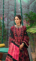 Embroidered Center Panel (Lawn) Embroidered Side Panel A (Lawn) Embroidered Side Panel B (Lawn) Embroidered Front Border (Lawn) Embroidered Sleeve (Lawn) Dyed Back Plain (Lawn) Embroidered Back Motive Patch (Organza) Embroidered Dupatta Swiss voil Embroidered Dupatta center (Voil) Trouser (Cotton)