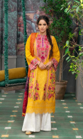Embroidered Front (Lawn) Embroidered Front Border (Organza) Embroidered Neckline (Satin) Printed Back (Lawn) Embroidered Sleeve (Lawn) Printed Dupatta (Chiffon) Trouser (Cotton)