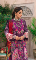 Embroidered Front (Lawn) Embroidered Front Border (Satin) Embroidered Front Motive (Satin) Embroidered Back (Lawn) Embroidered Sleeve (Lawn) Embroidered Sleeve Patti (Satin) Embroidered Dupatta (Chiffon) Trouser (Cotton) Trouser Patch (Organza)