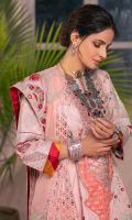 Embroidered Center Panel (Lawn) Embroidered Side Kali left and right (Lawn) Embroidered Side Panel B left and right (Lawn) Embroidered Back Motive (organza) Dyed Back Plain (Lawn) Embroidered Front & Back Border (Lawn) Embroidered Sleeve (Lawn) Embroidered Dupatta (Chiffon) Embroidered Dupatta Pallu (organza) Printed Trouser (Cotton)
