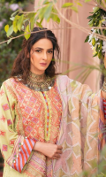 Embroidered Front (Lawn) Embroidered Neckline (Organza) Embroidered Back (Lawn) Embroidered Front Border A (Organza) Embroidered Front & Back Border B (Organza) Embroidered Sleeve (Lawn) Embroidered Back Patti (Organza) Embroidered Dupatta (Net) Trouser (Cotton)