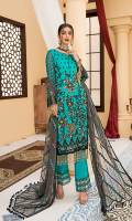 Embroidered Front Chiffon Handmade. Embroidered Back Chiffon. Embroidered Sleeves Chiffon. Embroidered Dupatta Chiffon Contrast. Embroidered Front Border Handmade. Embroidered Back Border. Embroidered Sleeves Border. Embroidered Trouser Border. Trouser.