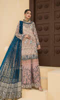 Embroidered Front Chiffon Handmade. Embroidered Back Chiffon. Embroidered Sleeves Chiffon. Embroidered Dupatta Net Contrast. Embroidered Dupatta Border Fourside. Embroidered Dupatta Pallu. Embroidered Front Border Handmade. Embroidered Back + Sleeves Border. Embroidered Sharara Net. Trouser.