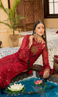 Embroidered Front Chiffon Handmade. Embroidered Back Chiffon. Embroidered Sleeves Chiffon. Embroidered Dupatta Net Contrast. Embroidered Dupatta Palette Contrast. Embroidered Front Border Handmade. Embroidered Back + Sleeves Border. Trouser Jamawar.