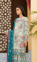 Embroidered Front Chiffon. Embroidered Back Chiffon. Embroidered Sleeves Chiffon. Embroidered Dupatta Chiffon Contrast. Embroidered Front + Back + Sleeves Border. Embroidered Trouser Border.
