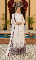 Embroidered Front Chiffon Handmade. Embroidered Back Chiffon. Embroidered Sleeves Chiffon. Embroidered Sleeves Border. Embroidered Dupatta Net. Embroidered Dupatta Border. Embroidered Dupatta Pallu. Embroidered Front + Back Border. Trouser.