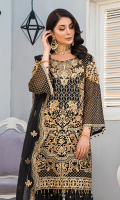 CHIFFON EMBROIDERED FRONT (1YARD) ORGANZA EMBROIDERED FRONT BORDER PATCH (1 YARD) CHIFFON EMBROIDERED BACK (1 YARD) ORGANZA EMBROIDERED BACK BORDER PATCH (1 YARD) CHIFFON EMBROIDERED SLEEVES (0.60YARD) ORGANZA EMBROIDERED SLEEVES MOTIFS 2 PIECES ORGANZA EMBROIDERES SLEEVES PATCH (1.60 YARDS ) NET EMBROIDERED DUPATTA (2.50 YARDS) DYED GRIP EMBROIDERED RAW-SILK TROUSER(2.50 YARDS)