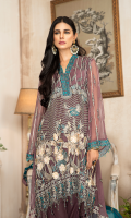 CHIFFON EMBROIDERED FRONT (1YARD) ORGANZA EMBROIDERED FRONT BORDER PATCH (1 YARD) CHIFFON EMBROIDERED BACK (1 YARD) ORGANZA EMBROIDERED BACK BORDER PATCH (1 YARD) CHIFFON EMBROIDERED SLEEVES (0.60YARD) NER EMBROIDERED DUPATTA WITH HAND MADE PEARLS (2.50 YARDS) ORGANZA EMBROIDERED PALLU PATCH WITH HAND MADE PEARLS 1 PIECE DYED GRIP RAW-SILK TROUSER (2.50 YARDS) ORGaAZA EMBROIDERED TROUSER PATCH (1 YARD)