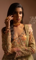 EMBROIDERED NET HANDMADE FRONT SLEEVES AND BODY EMBROIDERED NET DUPATTA EMBROIDERED HANDMADE GRIP FRONT DAMAN EMBROIDERED GRIP BACK DAMAN EMBROIDERED GRIP SLEEVES & DUPATTA PATTI SHIMMER INNER