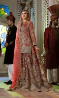 Embroidered chiffon hand made front back and sleeve Embroidered daman handmade patch Embroidered net hand made Dupatta Embroidered net handmade sharara jamawar inner and accessories