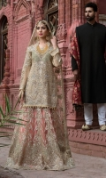 Embroidered chiffon hand made front back and sleeve Embroidered daman handmade patch Embroidered net handmade Dupatta Embroidered net handmade sharara jamawar inner and accessories