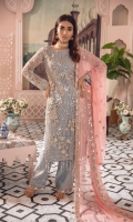 EMBROIDERED NET HANDMADE FRONT AND SLEEVES EMBROIDERED NET BACK EMBROIDERED BACK AND TROSER PATCH EMBROIDERED CHIFFON DUPPATA EMBROIDERED GRIP TROSER AND ACCESSORIES